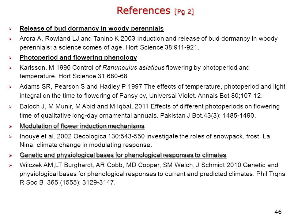 References [Pg 2] Release of bud dormancy in woody perennials